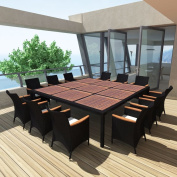 13pcs Outdoor Garden Dining Set, Rattan Wicker Acacia Wooden Top Table and 12 Chairs