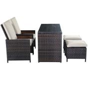 5PC Brown Cushioned Ottoman Rattan Wicker Patio Set Outdoor Furniture Garden New