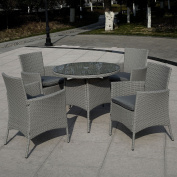 5 PC Patio Rattan Furniture Set Outdoor Backyard Dining Table and 4 Chairs Grey