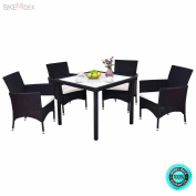 SKEMiDEX--- 5PCS Outdoor Patio Black Rattan Table Chair Furniture Set With Seat Cushions New It is made of rattan material and iron frame, which makes it sturdy and can serve you for a long time.