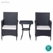 SKEMiDEX--- 3PCS Patio Garden Rattan Wicker Furniture Set Sofa Cushioned Table W/Lower Shelf You can put your cups, fruit plates and other things on it while you are sitting on the soft chairs.