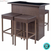 SKEMiDEX--- 5 PCS Rattan Wicker Barstool Dining Table Set Bar Stool Garden Patio Furniture You can comfortably sit on it and enjoy your drinks. This furniture set is made of rattan material and steel.
