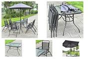 Grey 6 Folding Chairs Table with Umbrella 8PCS Garden Patio Set Furniture + eBook