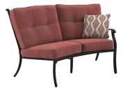 Ashley Furniture Signature Design - Burnella Outdoor Left Arm Facing Loveseat with Cushion - Burnt Orange