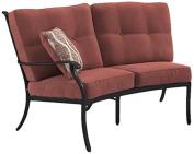 Ashley Furniture Signature Design - Burnella Outdoor Right Arm Facing Loveseat with Cushion - Burnt Orange