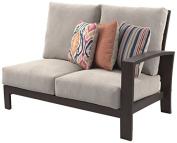 Ashley Furniture Signature Design - Cordova Reef Outdoor Right Arm Facing Loveseat with Cushion - Ladderback Design - Dark Brown