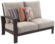 Ashley Furniture Signature Design - Cordova Reef Outdoor Left Arm Facing Loveseat with Cushion - Ladderback Design - Dark Brown