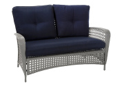 COSCO Outdoor Living Lakewood Ranch Steel Woven Wicker Loveseat with Cushions and Coffee Table, Navy and Grey
