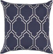 46cm Navy Blue and Pristine White Quatrafoil Decorative Throw Pillow - Down Filler