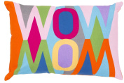 "48cm Bright Orange and Pink Retro Inspired ""Mom/Wow"" Throw Pillow - Down Filler"