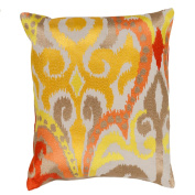 50cm Golden Yellow and Fire Storm Orange Decorative Throw Pillow - Down Filler