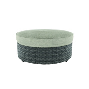 Ashley Furniture Signature Design - Spring Dew Outdoor Ottoman with Cushion - Grey