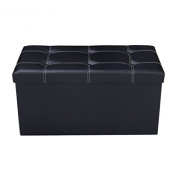 MD Group Ottoman Storage 80cm Large Foldable Black PVC Leather Light-weight Seat