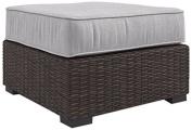 Ashley Furniture Signature Design - Alta Grande Outdoor Ottoman with Cushion - Beige & Brown