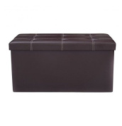 MD Group Ottoman Storage 80cm Large Foldable Brown PVC Leather Light-weight Seat