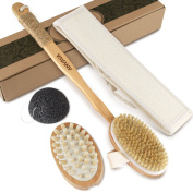 ANVAVA Body Brush - Exfoliation Set for Dry Skin Brushing Reducing Cellulite Boosting Lymphatic Flow, Including 100% Natural Boar Bristles Brush, Massager, Konjac Face Sponge and Loofah Strip