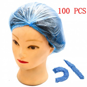 Rugjut 100 PCS Clear Disposable Plastic Shower Caps Large Elastic Bath Cap for Women Spa ,Home Use,Hotel and Hair Salon