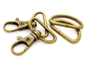 CRAFTMEmore Antique Brass Swivel Trigger Snap Hooks Lobster Clasps Purse Landyard Leather Craft WITH D RINGS 10 Sets