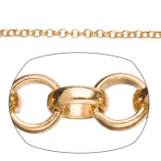 Gold Rollo Chain, Gold Finished Brass 3mm Sold per pkg of 1.5m