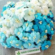 NAVA CHIANGMAI Assorted 100 Blue Tone Mulberry Paper Flower Artificial Mulberry Paper Flower Wedding Scrapbook Wedding Accessory DIY