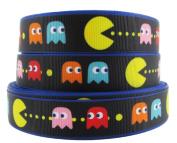 PAC-MAN Arcade Game Logo 2.5cm Wide Repeat Ribbon Sold in Yard Lots