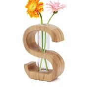Segarty Creative Design Wood Flower Vase, Flowerpot Table Vase with Insert Glass Tube, Decorative Centrepiece for Home, Office