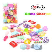 30 Pack Slime Charms For DIY Slime Making, Mixed Assorted Sweet Candies 30 Pieces of Slime Beads, DIY Arts Crafts Slime Accessories