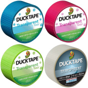 Duck Brand 4 Roll Variety Pack Transparent Tints Duct Tape Bundle Fuchsia Aqua Lime Green and Clear 50 Total Yards