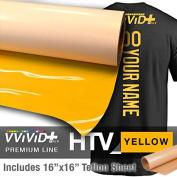 VVIVID+ Yellow Premium Line Heat Transfer Vinyl Film for Cricut, Silhouette & Cameo (30cm x 1520cm