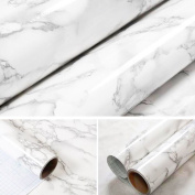 30cm X 200cm White Grey Marble Contact Paper Decorative Self-Adhesive Film for Covering Cabinets, Shelves, Drawers and Furniture