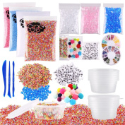 CCINEE 15 Pack Slime Making Kits Including Foam Beads, Acrylic Rocks, Fruit Slices, Slime Tools, Slime Storage Containers, Metallic Confetti, Wiggle Eyes and Pom Poms for Slime Making and DIY Crafts
