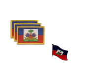 PACK of 3 Haiti Flag Patches 8.9cm x 5.7cm , Haitian Embroidered Iron On or Sew On Flag Patch Emblem PLUS A FREE Haiti Flag Lapel Pin