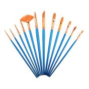 Paintbrush Sets,SAYEEC 12 Pcs Artist Watercolour Paint Brushes Fine Deatil Paint Brush Round Flat for Watercolour/Oil/Acrylic/Crafts/Face/Nail Painting