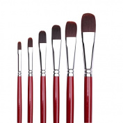 Art Paint Brushes Set, 6 pcs Nylon Artists Painting Supplies Filbert Paint Brushes for Art Acrylic Oil Painting with Red Wooden handle