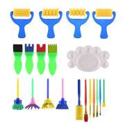 Painting Sets for Children, VEYLIN 20 Pieces Children Sponge Drawing Set with Palette for Kids DIY Painting Tools
