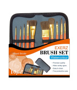 Exerz JH023 Artist Paint Brush Set – 10 pcs Professional Mixed Bristle Brushes in a Travel Case / Perfect for WaterColour Acrylic Gouache - Watercolour