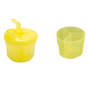 Fostly 3 Grids Container Non Spill Box Rotating Milk Powder Baby Feeding Box Milk Powder Dispenser for Newborn or Infant Yellow