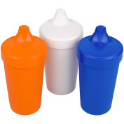 Re-Play Made in the USA 3pk No Spill Sippy Cups for Baby, Toddler, and Child Feeding - Orange, White, Navy Blue