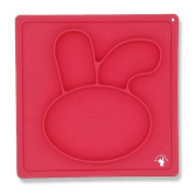 Bunny Rabbit Silicone Baby Placemat by Boulapin | Suction Plates for Toddlers, Non-Slip Baby Plates with Suction + Food-Grade Silicone Baby Feeding Plate + BPA Free, Dishwasher & Microwave Safe