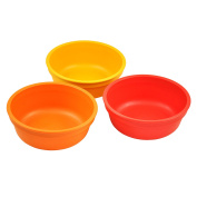 Re-Play Made in the USA 3pk Bowls for Easy Baby, Toddler, and Child Feeding - Orange, Sunny Yellow, Red