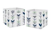 Navy Blue and Mint Woodland Mod Arrow Foldable Fabric Storage Cube Bins Boxes Organiser Toys Kids Baby Childrens for Collection by Sweet Jojo Designs - Set of 2