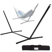 Portable Hammock Stand, 2 Person Space Saving Steel Hammock Rack for Outdoor Patio, 200kg with Carry Bag