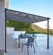 Shatex Shade Panel Block 90% of UV Rays with Ready-tie up Ribbon for Pergola/Greenhouses/Carport/Porch 3.7m x 3.7m Grey