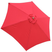 JTW- 2.7m Outdoor Patio umbrella replacement canopy top cover 6 Ribs Canopy UV30+ 180g/sqm Polyester Water resistance RED colour