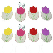 8Pcs Easter Decoration tableware Case Silverware Holders Pockets Dinner Decor