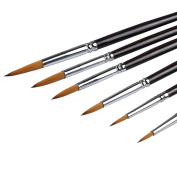 ARTIST PAINT BRUSHES - Top Quality Red Sable (Weasel Hair) Long Handle, Round Pointed Paint Brush Set For Acrylic, Oil, Gouche and Watercolour Painting