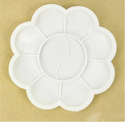 RICISUNG 8.5cm White Plum Children's palette brushes feet plum blossom plastic arts watercolour plate colour plate paint box