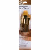 Synthetic Gold Taklon Real Value Brush Set-4/Pkg