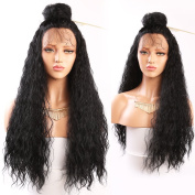 Andria Hair 180 Density Long Loose Curly Synthetic Lace Front Wigs Black Colour Hair Heat Resistant Synthetic Wig with Baby Hair for Fashion Women