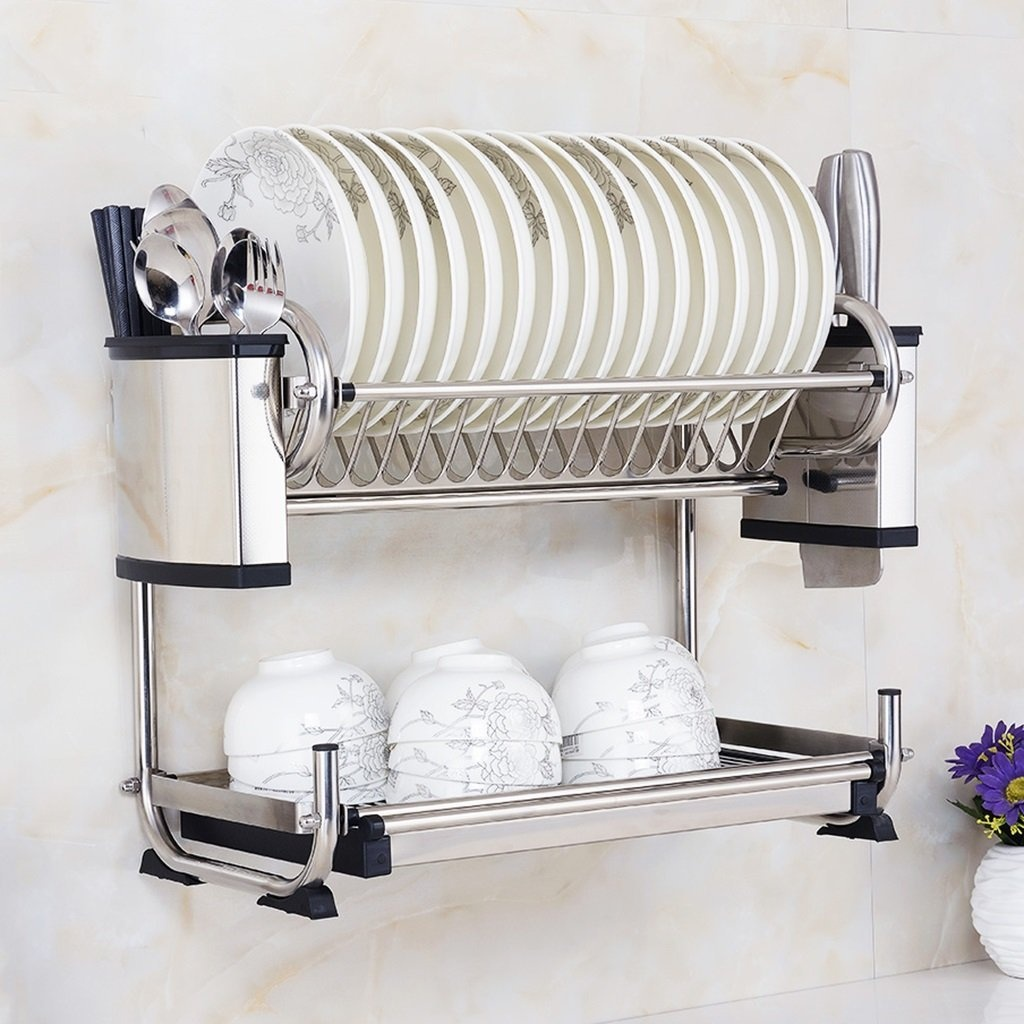 BSNOWF Stainless Steel Shelf Dish Rack Wall-mounted Drain Shelf Plate Rack Bowl Chopsticks Rack Kitchen by shelf - Shop Online for Kitchen in Australia & BSNOWF Stainless Steel Shelf Dish Rack Wall-mounted Drain Shelf ...
